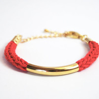 Gold tube bracelet with red cotton i-cord, knit bracelet, stacking bracelet