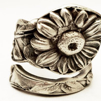 Spoon Ring Art Nouveau Sunflower Sterling Silver, Handcrafted in Your Size (3061)
