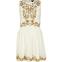 Cream embellished dress