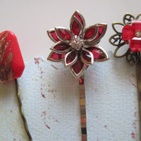 Red Bobby Pins, Red Cabochon Bobby Pins