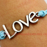 love bracelet, antique silver love bracelet, wax cord bracelet