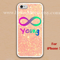 iPhone 5 Case, Forever Young iphone 5 case, infinity iphone 5 case, sparkle iphone 5 case, case for iphone 5