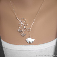 AUTUMN SALE - Family Bird and Branch Lariat Necklace on Sterling Silver Chain - Simple modern everyday jewlery - Perfect gift