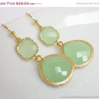 AUTUMN SALE - Light Mint Gold Drop Earrings, Apple Green Dangle Earrings - wedding jewelry, bridal, bridesmaid gifts, mom gift