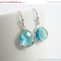 AUTUMN SALE - Aquamarine Teardrop Silver Earrings, Simple Modern Earrings - wedding jewelry, bridal, bridesmaid gifts, mom gift