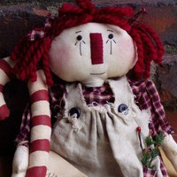 Primitive Doll Raggedy Christmas Candy Cane Annie Doll with apron and tag