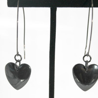 Hematite Heart Earrings, Charcoal Grey Earrings, Heart Earrings, Gunmetal Findings