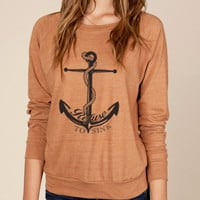 Anchor Refuse to Sink Organic Loose Fit Long Sleeve Sweater in Rust