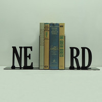NERD Text Metal Art Bookends - FREE USA Shipping