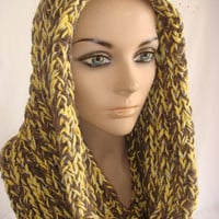 Hand Knitted Hooded Cowl/Scarf/Neck warmer (Yellow, Brown) by Arzu's Style