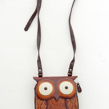 Unique Hand Made Leather Owl Pouch - Unique Vintage - Bridesmaid & Wedding Dresses