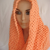 Hand Knitted Hooded Cowl/Scarf/Neck warmer (Solmon) by Arzu's Style