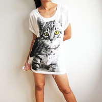 Kitty Cat Shirt Cute Pet Animal Womens T Shirts Print Design Size M