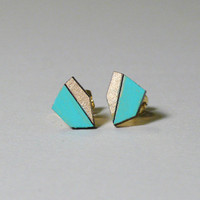Geo Stud Earrings - Teal & Gold