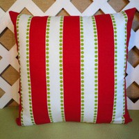Red and White Wide Stripes Christmas Pillow Cover with Green Dots