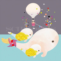 Childrens Art, Nursery Prints, Art for Kids Room, Whale Art - 'Beluga Gumballs' by Schmooks