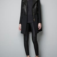 LEATHER BIKER COAT - Coats - Woman - ZARA United States