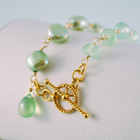 Mint Green Gemstone Bracelet Prehnite Genuine Freshwater Pearls Asymmetrical Wire Wrapped Gold Vermeil Jewelry Complimentary Shipping