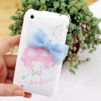Apple iPhone 4 Lovely Girl Bow and Flower Shell Skin by gullei