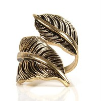 Antique Leaf Wrap Ring