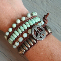 Rustic Seafoam  distressed brown leather &amp; semi by slashKnots