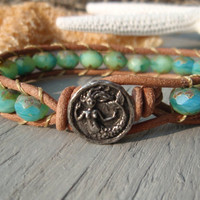 Caribbean Mermaid  natural leather single wrap by slashKnots