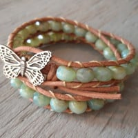 Fly  natural leather 2x double wrap bracelet w/ by slashKnots
