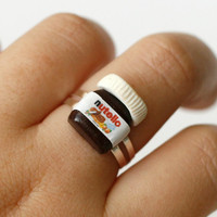 Nutella ring - Polymer clay miniature kawaii chocolate jar