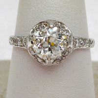 97pt European Cut Vintage Halo Style Platinum and Diamond Engagement Ring