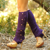 Leg Warmers with Stirrups in Deep Purple by mademoisellemermaid