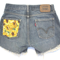 Levis High Waisted Sunflower Pocket Patch Cutoff Denim Shorts