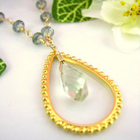 Green amethyst gold tear drop rosary necklace
