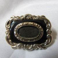 Victorian Mourning Brooch Enamel Hair  by victoriansentiments