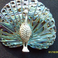 Silver Abalone Peacock Brooch by olysoldies on Etsy