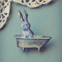 bunny in the bathtub brooch by bellehibou on Etsy