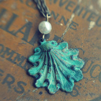 patina seashell necklace by bellehibou on Etsy