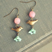 bird and blossom earrings in pink and mint by bellehibou on Etsy