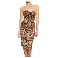 DOLCE & GABBANA - LEOPARD PRINT CHARMEUSE STRETCH DRESS,$280,cheap DOLCE & GABBANA,clothes,DOLCE & GABBANA
