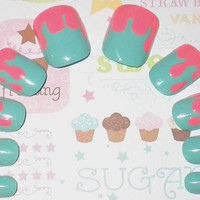 Glue On Nails: Cotton Candy Neon Sugar Drippy