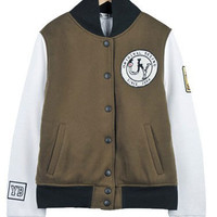 Brown White Women's Cotton Baseball Jacket