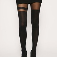 ASOS Black Over The Knee Stripe Tights at asos.com