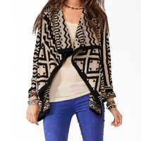 Draped Geo Pattern Cardigan