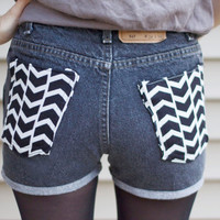 SALE // The Joelle II - high waisted cuffed reconstructed chevron pocket black denim shorts