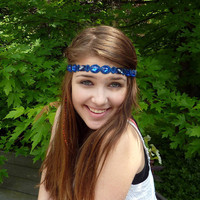 Royal Blue Headband Jewels and Gems for Women and Teens Boho Ribbon Headband by Jill's Boutique
