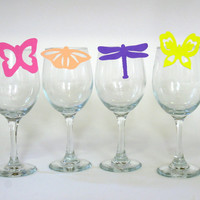 Butterfly Shaped Wine Charms (Set of Four to clip on your glass)