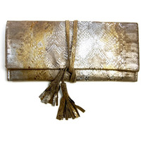 ALEXIS Tassel Clutch in Metallic Gold Bronze Silver Snake