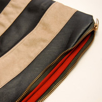 Canopy Stripe Leather Pouch in Black and Blond