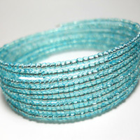 Memory Wire Bracelet Light Teal Blue Stacked Bracelet Beaded Wrap Bracelet
