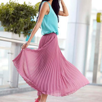 Fairy Retro Purple Red Chiffon Big Sweep Long Pleated Skirt Maxi Skirt Summer Skirt - NC167