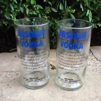 Recycled Absolut Vodka Bottles made into Drinking Glasses Set of 2 Tumblers